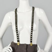 Sonia Rykiel Black Suede Suspenders Gold Eyelets Clip On Suspenders Gold Faux Coin Detail