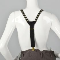 Sonia Rykiel Black Suede Suspenders Gold Eyelets Clip On Suspenders Gold Faux Coin Detail  - Fashionconstellate.com