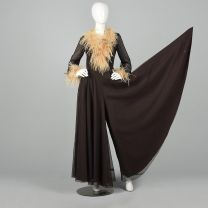Small 1970s Brown Jumpsuit Feather Trimmed Huge Palazzo Legs Wide Leg Long Sleeve Party Outfit - Fashionconstellate.com
