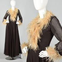 Small 1970s Brown Jumpsuit Feather Trimmed Huge Palazzo Legs Wide Leg Long Sleeve Party Outfit