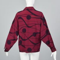 Medium 1980s Top Gianni Versace Long Sleeve Button Up Blouse Pink Purple Abstract Print Polka Dot  - Fashionconstellate.com