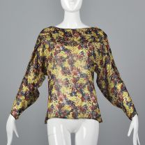 Small 1980s Gianni Versace Sheer Top Long Dolman Sleeve Blouse Red Blue Yellow Floral Print