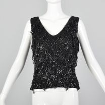 Medium 1960s Top Black Beaded Fringe Blouse Wool Sweater Tank New Years Party Blouse