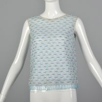 Small 1960s White Blouse Teal Blue Beaded Fringe Sleeveless Lace Pearl Tank Top