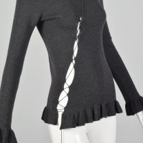 Small Jean Paul Gaultier Maille Femme 1990s Grey Sweater Ribbed Wool Turtleneck Avant Garde Cutout  - Fashionconstellate.com