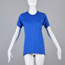 Small Blue T-Shirt 1970s Unisex Ribbed Knit Trim Top Slim Tight Fitting Tee