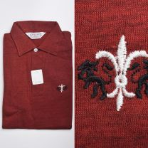 XS 1950s Deadstock Long Sleeve Polo Shirt Red Cotton Rayon Knit Rockabilly