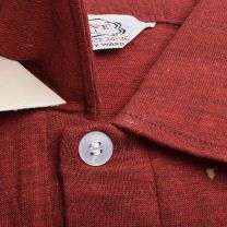 XS 1950s Deadstock Long Sleeve Polo Shirt Red Cotton Rayon Knit Rockabilly  - Fashionconstellate.com