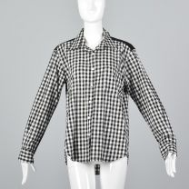 Medium 1980s Top Comme des Garcons Black and White Gingham Plaid Long Sleeve Button Up Shirt