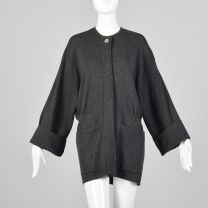 Large Donna Karen 1980s Gray Sweater Oversized Designer Charcoal Cardigan Pockets  80s