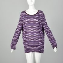 Large St John Sport Sweater Purple Wavy Knit Long Sleeve Tunic Matching Infinity Scarf Set - Fashionconstellate.com