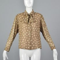 Medium 1970s Tan Top Pauline Trigere Beige Polka Dot Blouse Pussy Bow Tie Neck Button Up