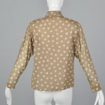 Medium 1970s Tan Top Pauline Trigere Beige Polka Dot Blouse Pussy Bow Tie Neck Button Up - Fashionconstellate.com