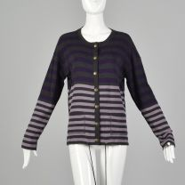 Small Sonia Rykiel 1990s Purple and  Gray Sweater Striped Cardigan Designer Cotton Drawstring Knit