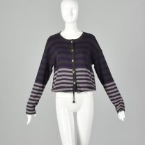 Small Sonia Rykiel 1990s Purple and  Gray Sweater Striped Cardigan Designer Cotton Drawstring Knit - Fashionconstellate.com