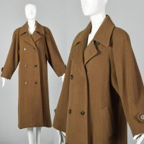 Large 1970s Regency Cashmere Coat Brown Double Breasted Coat Raglan Sleeves Winter Outerwear