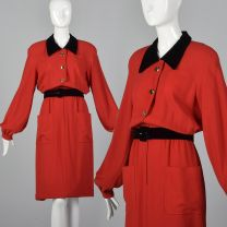 Large 1980s Dress Valentino Boutique Red Long Sleeve Black Velvet Collar Button Front Dress