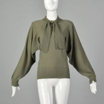 Medium Sonia Rykiel 1980s Green Sweater Designer Avante Garde Vented Open Armpits Ribbed Knit Trim