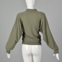 Medium Sonia Rykiel 1980s Green Sweater Designer Avante Garde Vented Open Armpits Ribbed Knit Trim  - Fashionconstellate.com