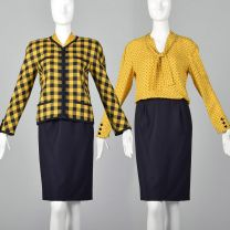 XS 1980s Valentino Boutique Set Yellow Navy Vintage Blouse Top Pencil Skirt Zip Front Jacket