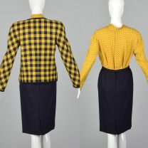 XS 1980s Valentino Boutique Set Yellow Navy Vintage Blouse Top Pencil Skirt Zip Front Jacket - Fashionconstellate.com