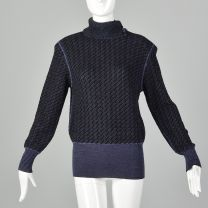 Small Emanuel Ungaro Parallele 1980s Black Sweater with Purple Stripes Asymmetrical Turtleneck