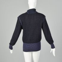 Small Emanuel Ungaro Parallele 1980s Black Sweater with Purple Stripes Asymmetrical Turtleneck  - Fashionconstellate.com
