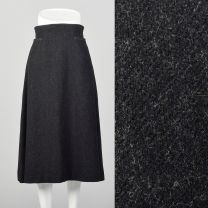 Small 1960s Mod Gray Wool A Line Midi Skirt with Topstitch and Pockets