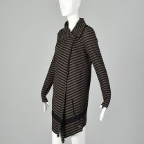 XS Sonia Rykiel 1990s Sweater Black Brown Sweater Asymmetrical Lightweight Cardigan  - Fashionconstellate.com