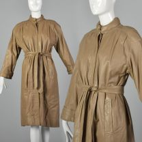 Medium Fendi 1980s Leather Trench Coat Light Tan Fendi Signature Quilted Lining High Neck Outerwear