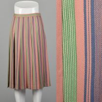 Small Valentino 1960s Skirt Pink Pleated Green Candy Stripe Wool Metal Zip Skirt