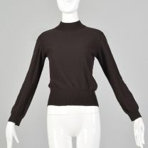 XS Sonia Rykiel 1990s Sweater Brown Long Sleeve Mockneck Turtleneck Pullover Jumper Top