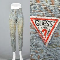 XS 1980s Guess Tapestry Print Jeans High Waisted Denim High Rise Jeans