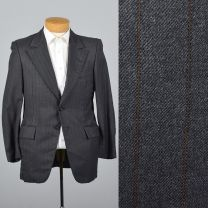 39S Medium1970s Mens Blazer Two Button Jacket Gray Striped Wool Jacket Wide Lapels Sportcoat