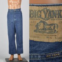 XL 1970s Mens Big Yank Workwear Jeans Dark Wash Straight Leg Light Fade Vintage Denim
