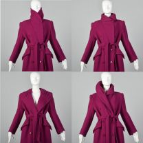 Medium Valentino Miss V 1980s Coat Portrait Collar Hot Pink Wool Double Breasted Trench Coat - Fashionconstellate.com