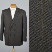 42L Large 1980s Mens Blazert Double Breasted Suit Jacket Gray Blue Pin Stripes Double Vent Sportcoat