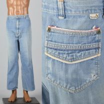 XL 1970s Mens Wrangler Light Denim Jeans Piping Trim Straight Leg Distressed Fade