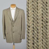 XL 44L 1950s Mens Tan Tweed Striped Sportcoat Single Vent Convertible Pockets Blazer Jacket