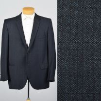 XL 44L 1960s Mens Blue Jacket Single Vent Slim Lapel Convertible Flap Pockets Blazer Sportcoat