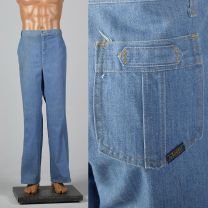Large 1970s Mens Mr Leggs Jeans Medium Wash Straight Leg Vintage Denim