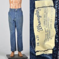 Large 1970s Mens Wrangler Distressed Denim Jeans Straight Leg Pockets Vintage Pants