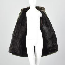 Large 1980s Coat Yves Saint Laurent Fourrures YSL Olive Green Sheared Fur Lining Collar Winter - Fashionconstellate.com