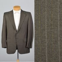 Large 41R 1970s Mens Gray Pinstripe Jacket Single Vent Convertible Pockets Blazer Sportcoat