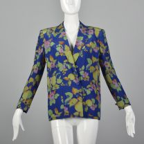 Small 1980s Silk Blazer Jean Louis Scherrer Boutique Patch Pockets Double Breasted Blue Floral Print