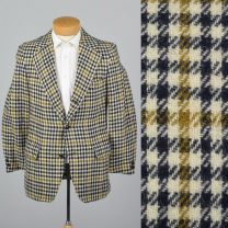 339S Medium 1970s Mens Blazer Wool Tweed Jacket Plaid Houndstooth Sportcoat Wide Lapels
