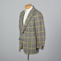 339S Medium 1970s Mens Blazer Wool Tweed Jacket Plaid Houndstooth Sportcoat Wide Lapels - Fashionconstellate.com