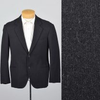 Medium 39S 1960s Mens Black Jacket Welt Pockets Button Front Blazer Slim Lapel Sportcoat