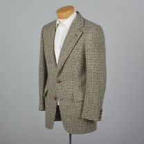 Medium 38R Mens 1970s Blazer Gray and White Tweed Houndstooth Two Button Jacket Sportcoat - Fashionconstellate.com