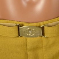 Large 1950s Mens Yellow Gold Golf Pants Lightweight Permanent Press Flat Front Tapered Leg Cuffed - Fashionconstellate.com